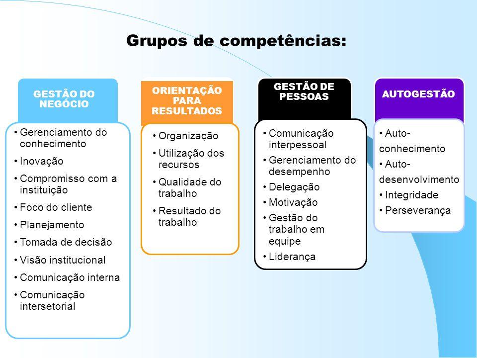 Grupos de competências: GESTÃO DO NEGÓCIO ORIENTAÇÃO PARA RESULTADOS GESTÃO DE PESSOAS AUTOGESTÃO Organização Utilização dos recursos Qualidade do tra