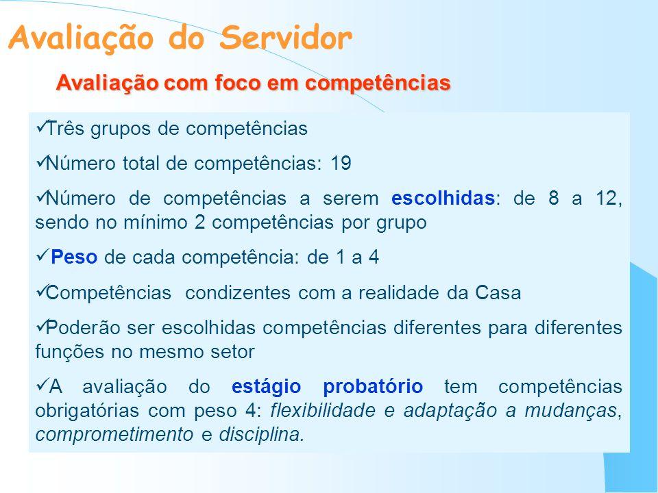 Avaliação com foco em competências Três grupos de competências Número total de competências: 19 Número de competências a serem escolhidas: de 8 a 12,