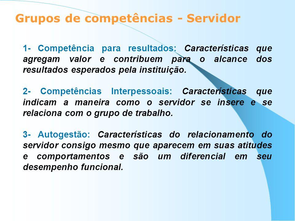Grupos de competências - Servidor 1- Competência para resultados: Características que agregam valor e contribuem para o alcance dos resultados esperad