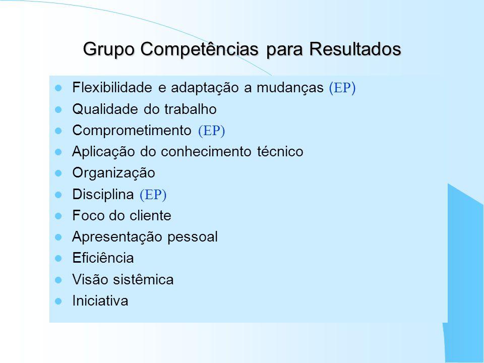 Grupo Competências para Resultados Flexibilidade e adaptação a mudanças ( EP ) Qualidade do trabalho Comprometimento (EP) Aplicação do conhecimento té