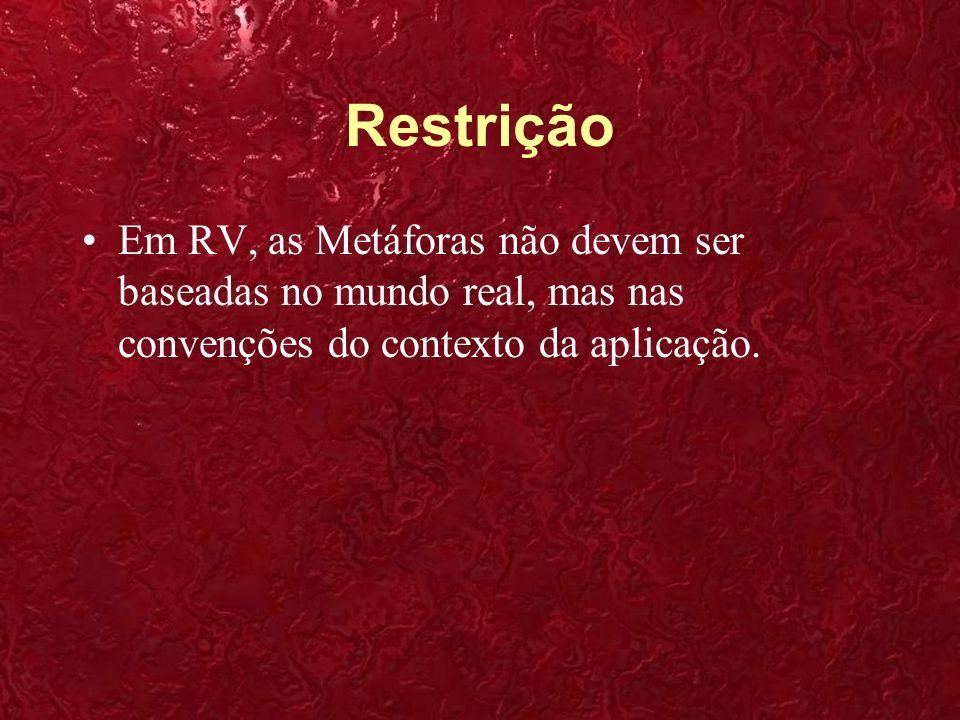Restrição Em RV, as Metáforas não devem ser baseadas no mundo real, mas nas convenções do contexto da aplicação.