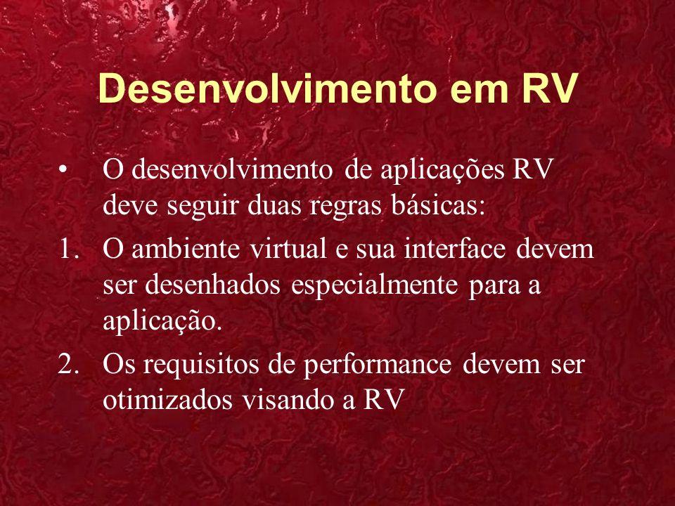 Desenvolvimento em RV O desenvolvimento de aplicações RV deve seguir duas regras básicas: 1.O ambiente virtual e sua interface devem ser desenhados es