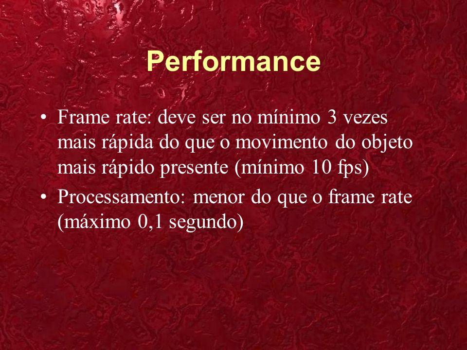 Performance Frame rate: deve ser no mínimo 3 vezes mais rápida do que o movimento do objeto mais rápido presente (mínimo 10 fps) Processamento: menor