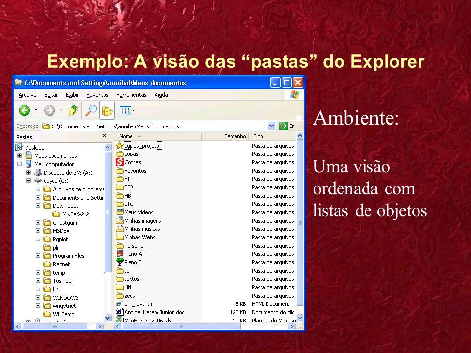 Exemplo: A visão das pastas do Explorer Apresentação dos dados: Os arquivos se apresentam como ícones dentro de pastas.