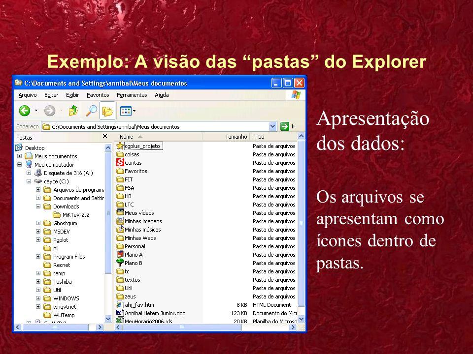 Exemplo: A visão das pastas do Explorer 1.Interação: O usuário pega os objetos com o mouse e os movimenta entre as pastas.
