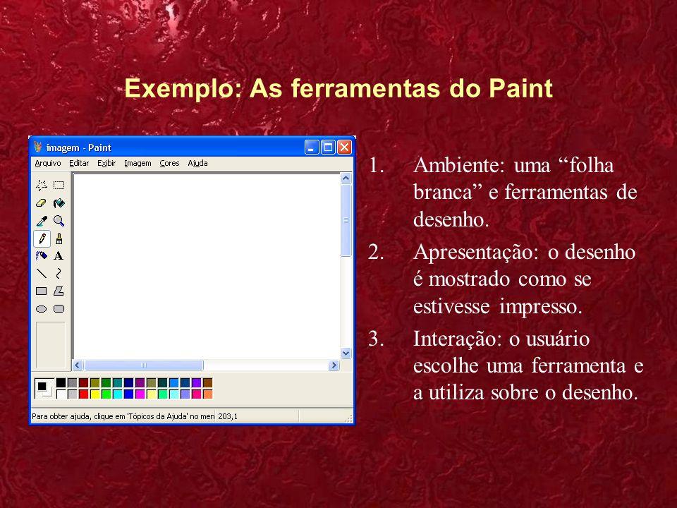 Exemplo: As ferramentas do Paint 1.Ambiente: uma folha branca e ferramentas de desenho. 2.Apresentação: o desenho é mostrado como se estivesse impress