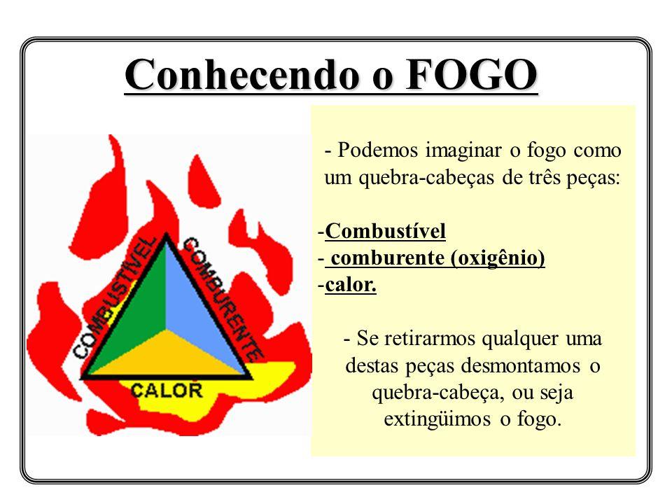 - Podemos imaginar o fogo como um quebra-cabeças de três peças: -Combustível - comburente (oxigênio) -calor. - Se retirarmos qualquer uma destas peças