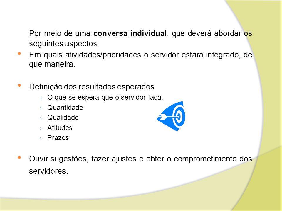Por meio de uma conversa individual, que deverá abordar os seguintes aspectos: Em quais atividades/prioridades o servidor estará integrado, de que man