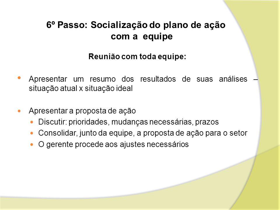 6º Passo: Socialização do plano de ação com a equipe Reunião com toda equipe: Apresentar um resumo dos resultados de suas análises – situação atual x