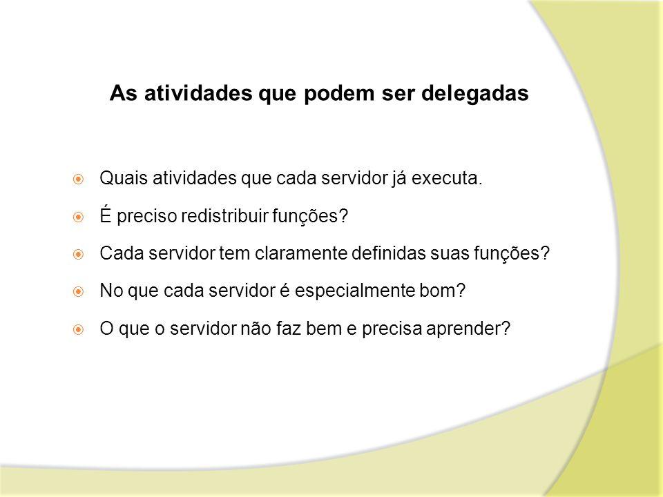As atividades que podem ser delegadas Quais atividades que cada servidor já executa. É preciso redistribuir funções? Cada servidor tem claramente defi