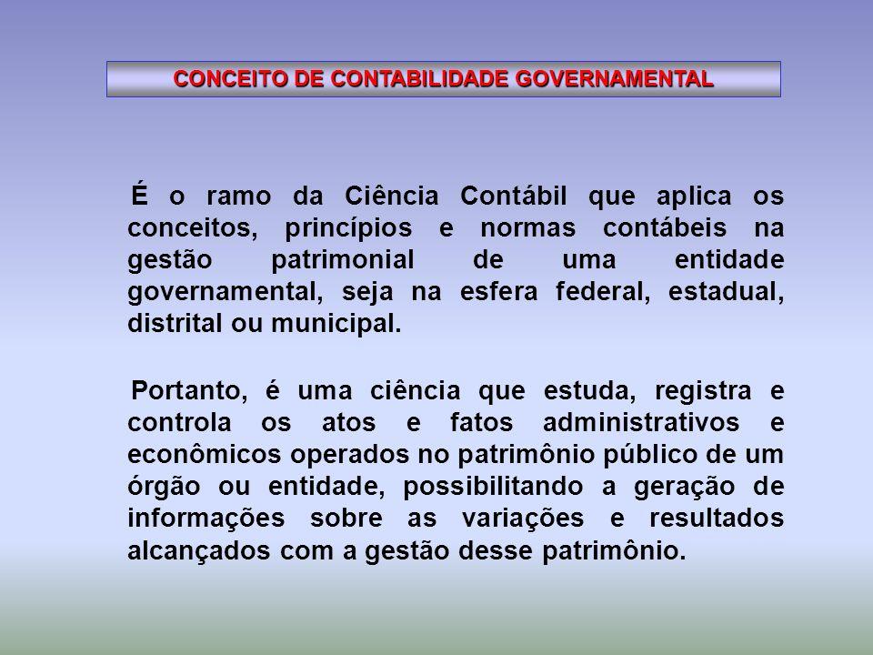É o ramo da Ciência Contábil que aplica os conceitos, princípios e normas contábeis na gestão patrimonial de uma entidade governamental, seja na esfer