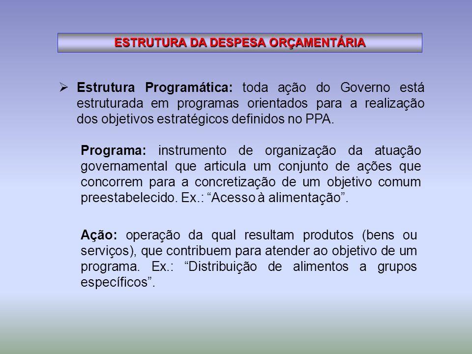 ESTRUTURA DA DESPESA ORÇAMENTÁRIA Estrutura Programática: toda ação do Governo está estruturada em programas orientados para a realização dos objetivo