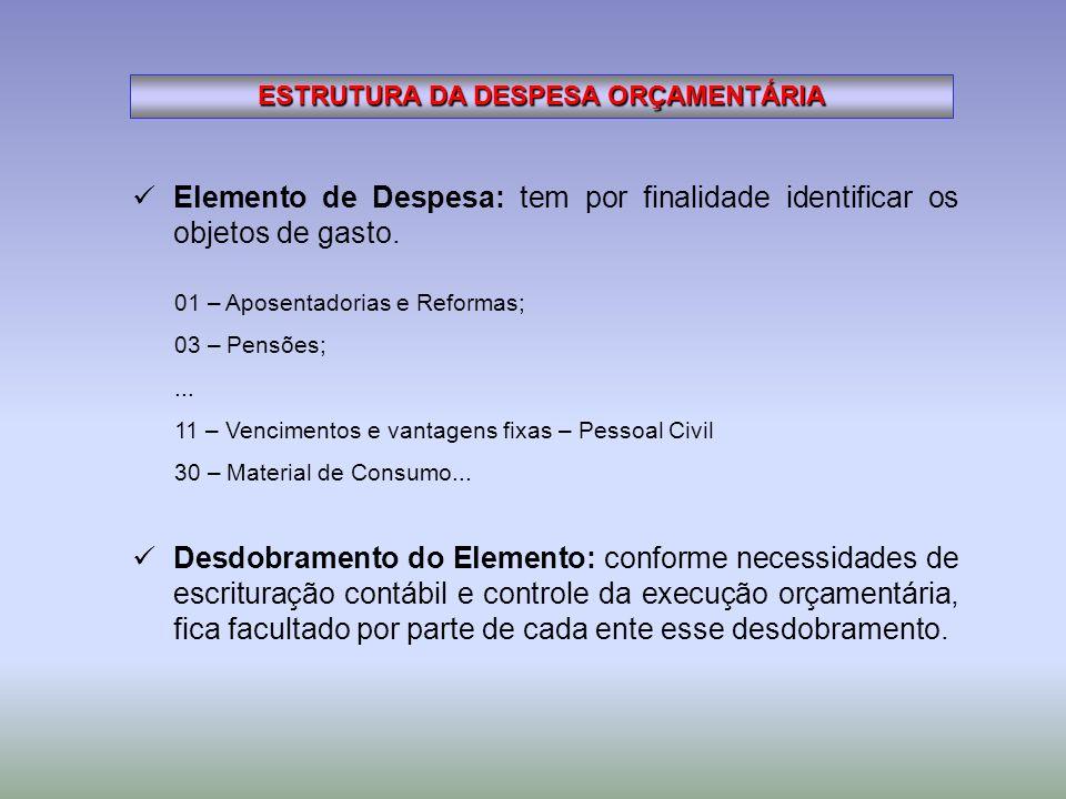 ESTRUTURA DA DESPESA ORÇAMENTÁRIA Elemento de Despesa: tem por finalidade identificar os objetos de gasto. 01 – Aposentadorias e Reformas; 03 – Pensõe