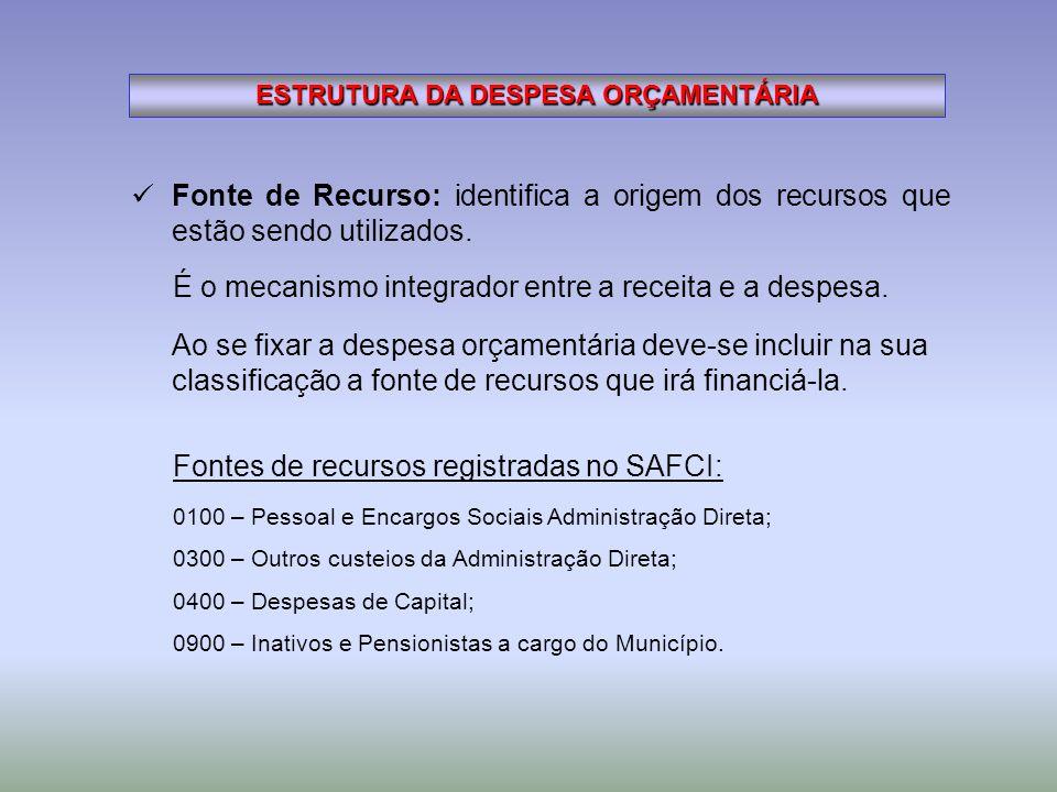 ESTRUTURA DA DESPESA ORÇAMENTÁRIA Fonte de Recurso: identifica a origem dos recursos que estão sendo utilizados. 0100 – Pessoal e Encargos Sociais Adm