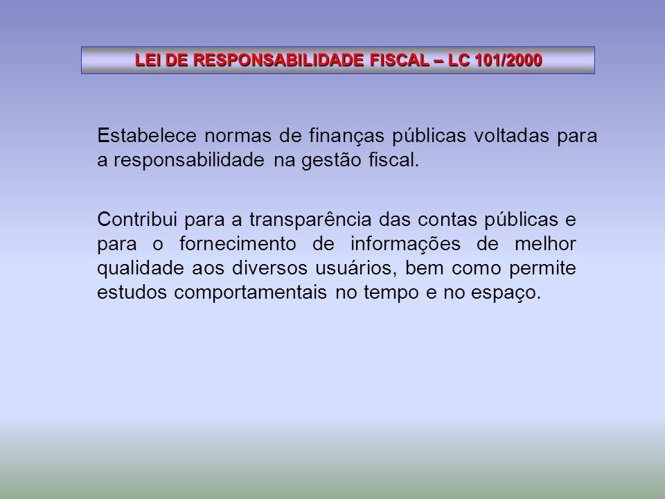 Estabelece normas de finanças públicas voltadas para a responsabilidade na gestão fiscal. LEI DE RESPONSABILIDADE FISCAL – LC 101/2000 Contribui para
