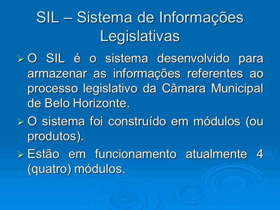 SIL – Sistema de Informações Legislativas O SIL é o sistema desenvolvido para armazenar as informações referentes ao processo legislativo da Câmara Mu
