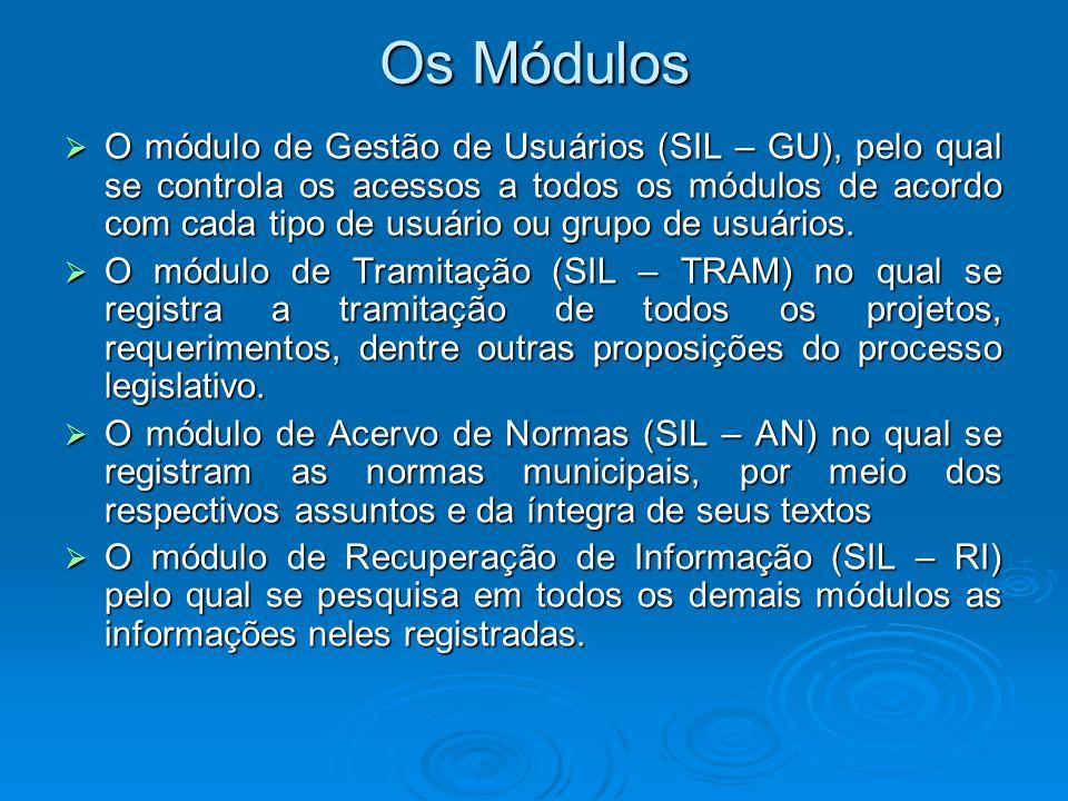 Os Módulos O módulo de Gestão de Usuários (SIL – GU), pelo qual se controla os acessos a todos os módulos de acordo com cada tipo de usuário ou grupo
