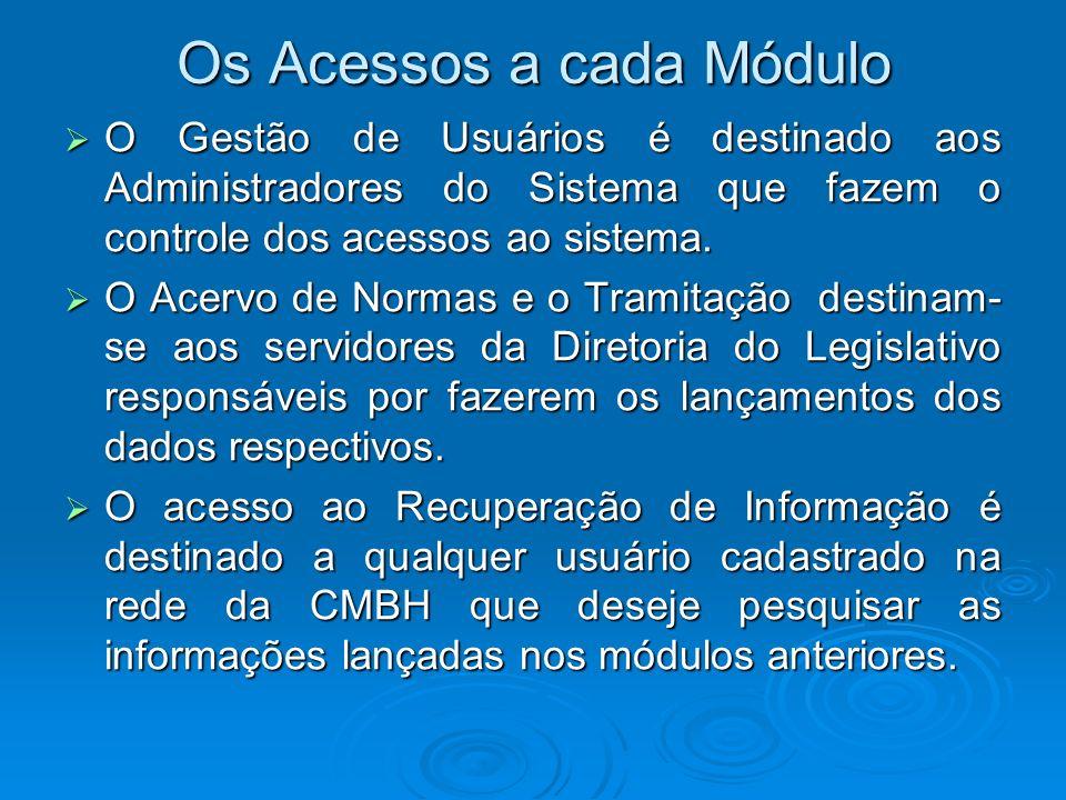 Os Acessos a cada Módulo O Gestão de Usuários é destinado aos Administradores do Sistema que fazem o controle dos acessos ao sistema. O Gestão de Usuá