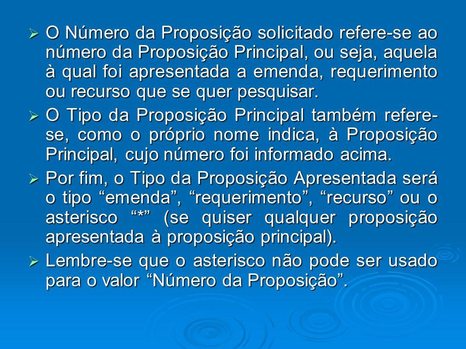 O Número da Proposição solicitado refere-se ao número da Proposição Principal, ou seja, aquela à qual foi apresentada a emenda, requerimento ou recurs