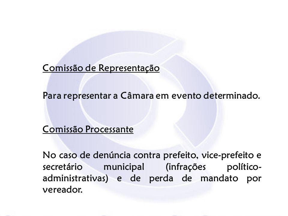 Comissão de Representação Para representar a Câmara em evento determinado. Comissão Processante No caso de denúncia contra prefeito, vice-prefeito e s