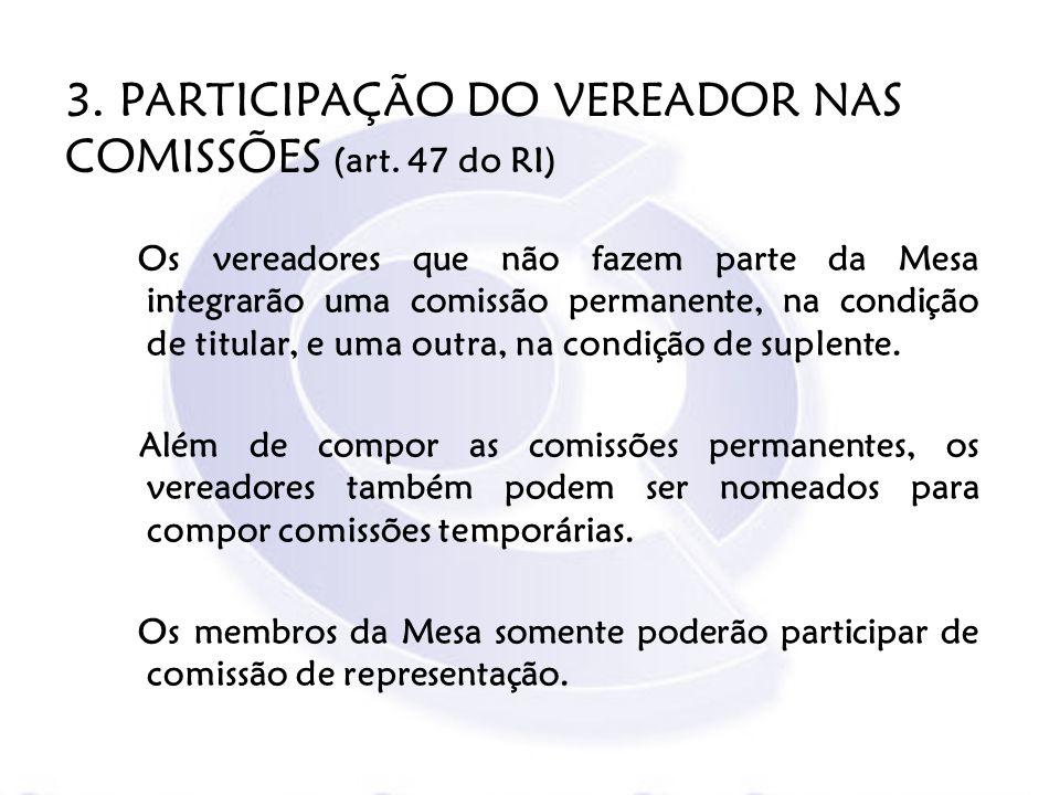 3. PARTICIPAÇÃO DO VEREADOR NAS COMISSÕES (art. 47 do RI) Os vereadores que não fazem parte da Mesa integrarão uma comissão permanente, na condição de