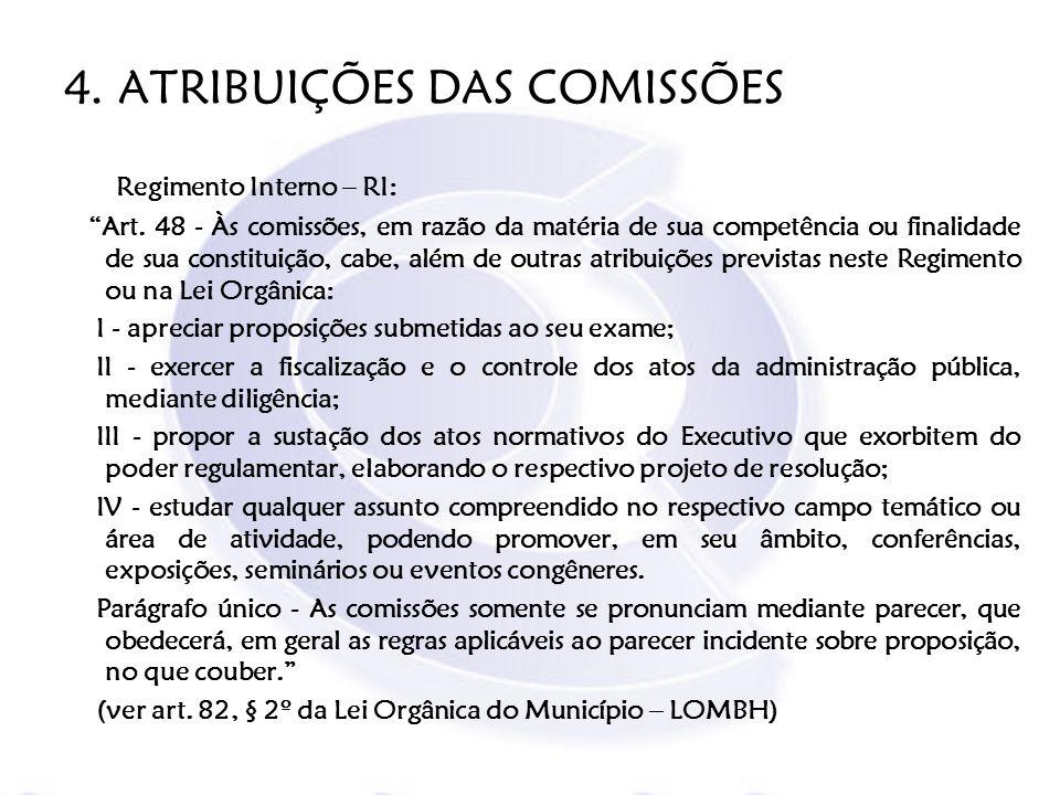 4. ATRIBUIÇÕES DAS COMISSÕES Regimento Interno – RI: Art. 48 - Às comissões, em razão da matéria de sua competência ou finalidade de sua constituição,