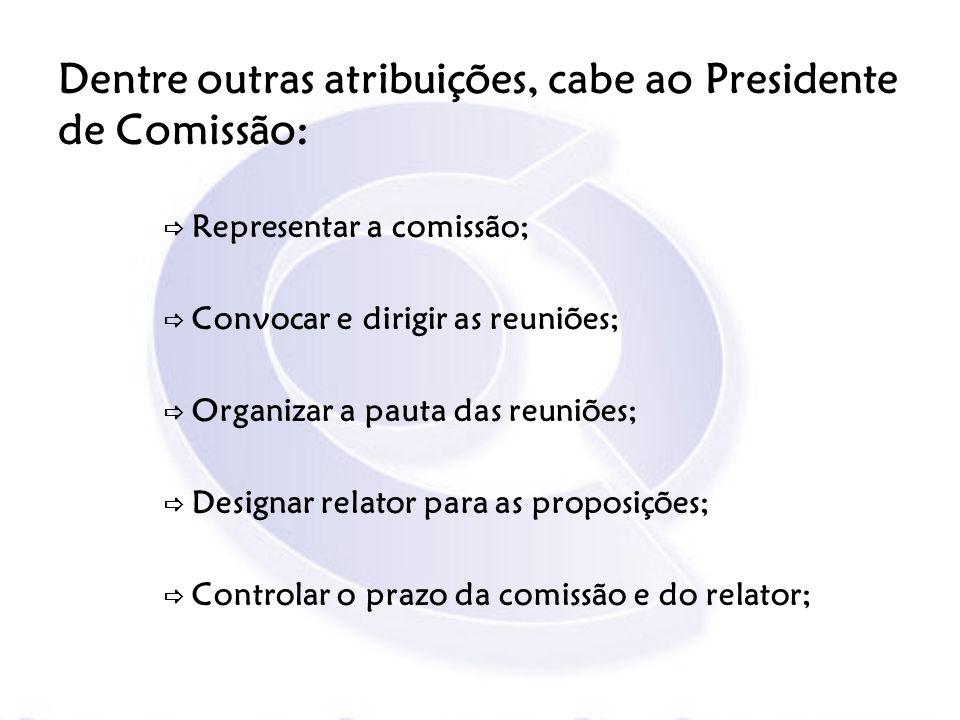Dentre outras atribuições, cabe ao Presidente de Comissão: Representar a comissão; Convocar e dirigir as reuniões; Organizar a pauta das reuniões; Des