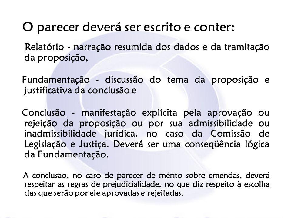 Relatório - narração resumida dos dados e da tramitação da proposição, Fundamentação - discussão do tema da proposição e justificativa da conclusão e