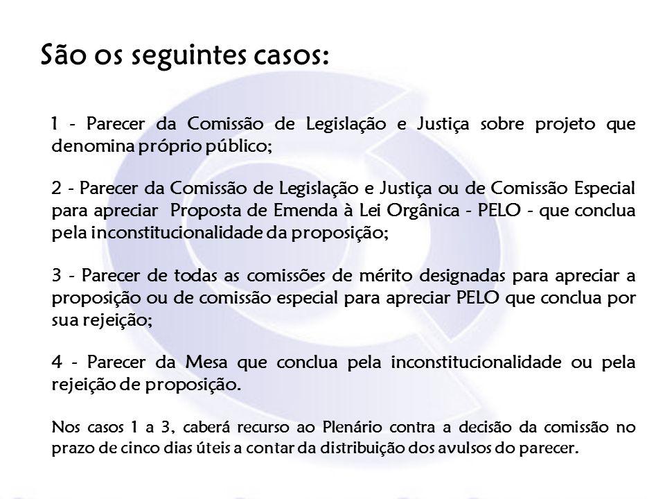 São os seguintes casos: 1 - Parecer da Comissão de Legislação e Justiça sobre projeto que denomina próprio público; 2 - Parecer da Comissão de Legisla
