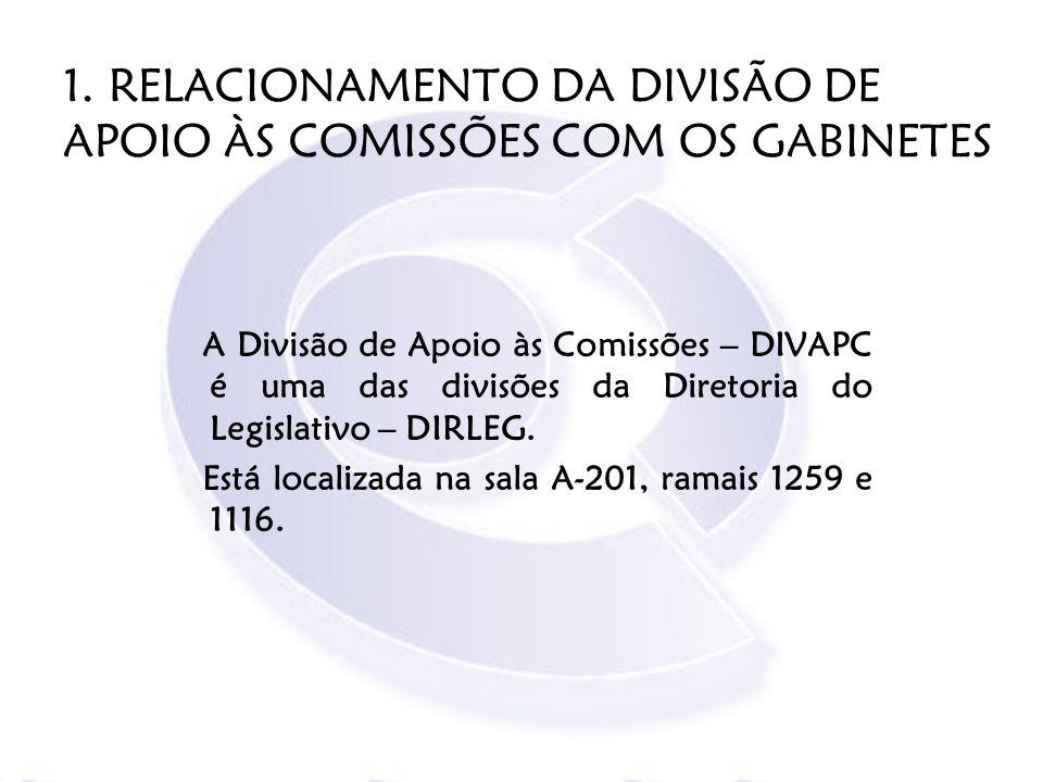 1. RELACIONAMENTO DA DIVISÃO DE APOIO ÀS COMISSÕES COM OS GABINETES A Divisão de Apoio às Comissões – DIVAPC é uma das divisões da Diretoria do Legisl