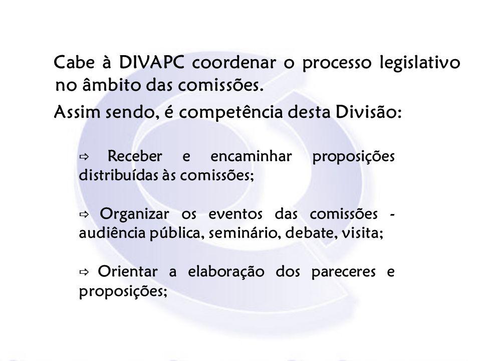 Receber e encaminhar proposições distribuídas às comissões; Organizar os eventos das comissões - audiência pública, seminário, debate, visita; Orienta