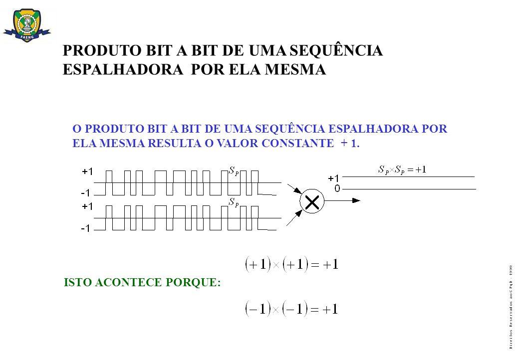 D i r e i t o s R e s e r v a d o s a o C P q D - 1 9 9 9 PRODUTO BIT A BIT DE UMA SEQUÊNCIA ESPALHADORA POR ELA MESMA O PRODUTO BIT A BIT DE UMA SEQU
