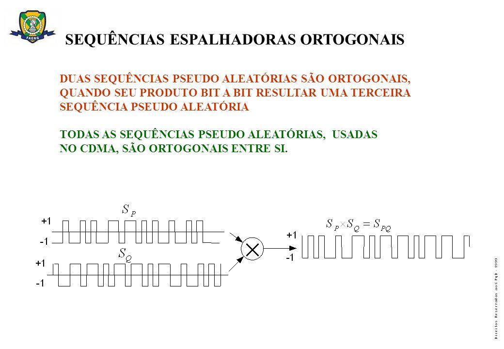 D i r e i t o s R e s e r v a d o s a o C P q D - 1 9 9 9 SEQUÊNCIAS ESPALHADORAS ORTOGONAIS DUAS SEQUÊNCIAS PSEUDO ALEATÓRIAS SÃO ORTOGONAIS, QUANDO