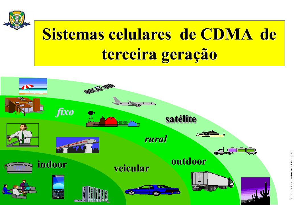 D i r e i t o s R e s e r v a d o s a o C P q D - 1 9 9 9 Sistemas celulares de CDMA de terceira geração indoor veicular outdoor fixo rural satélitesa