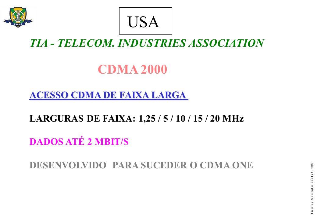 D i r e i t o s R e s e r v a d o s a o C P q D - 1 9 9 9 USA TIA - TELECOM. INDUSTRIES ASSOCIATION CDMA 2000 ACESSO CDMA DE FAIXA LARGA LARGURAS DE F