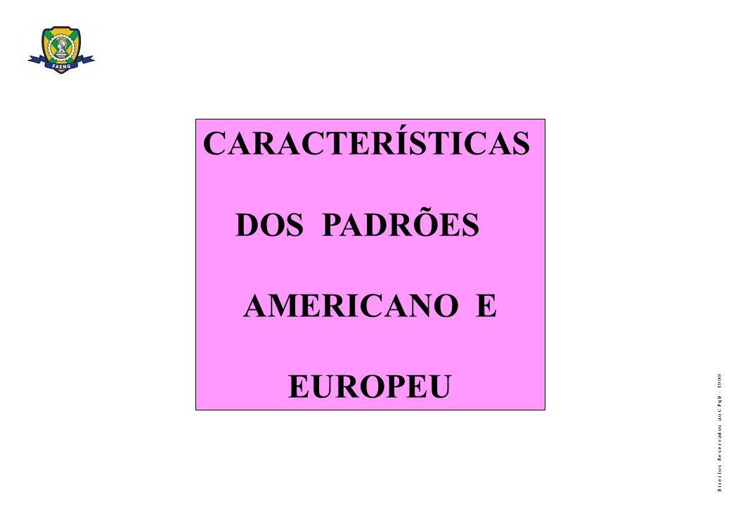 D i r e i t o s R e s e r v a d o s a o C P q D - 1 9 9 9 CARACTERÍSTICAS DOS PADRÕES AMERICANO E EUROPEU