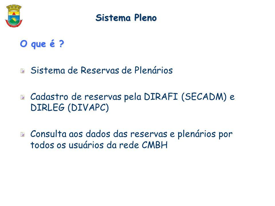 O que é ? Sistema de Reservas de Plenários Cadastro de reservas pela DIRAFI (SECADM) e DIRLEG (DIVAPC) Consulta aos dados das reservas e plenários por