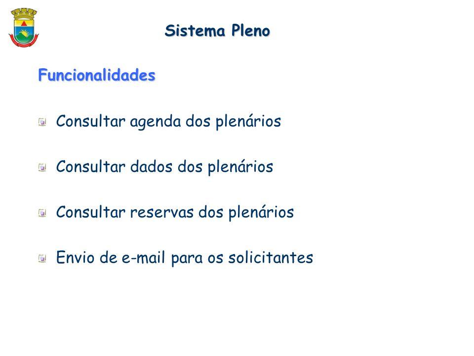 Funcionalidades Consultar agenda dos plenários Consultar dados dos plenários Consultar reservas dos plenários Envio de e-mail para os solicitantes Sis