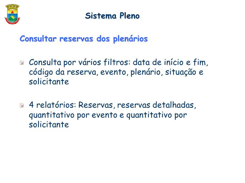 Consultar reservas dos plenários Consulta por vários filtros: data de início e fim, código da reserva, evento, plenário, situação e solicitante 4 rela