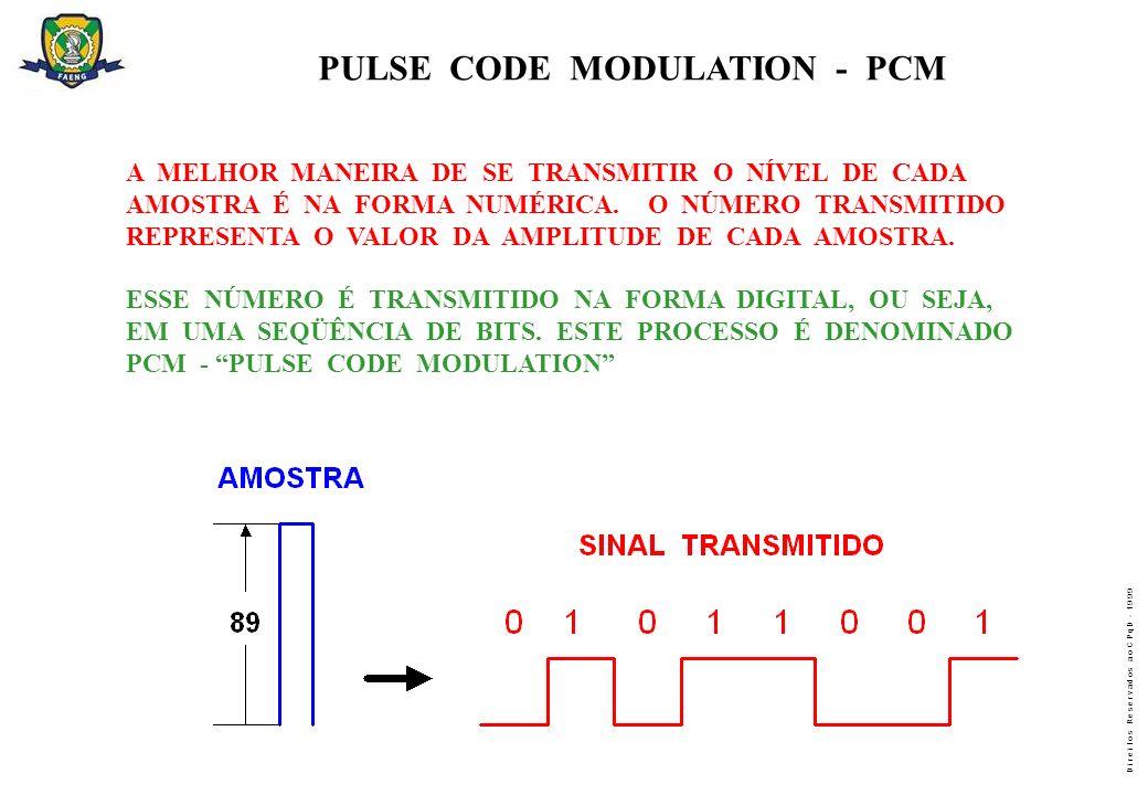 D i r e i t o s R e s e r v a d o s a o C P q D - 1 9 9 9 PULSE CODE MODULATION - PCM A MELHOR MANEIRA DE SE TRANSMITIR O NÍVEL DE CADA AMOSTRA É NA F