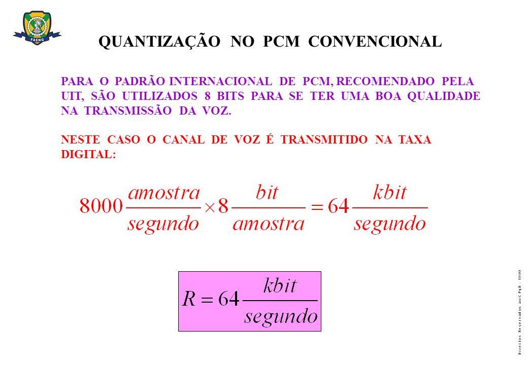 D i r e i t o s R e s e r v a d o s a o C P q D - 1 9 9 9 QUANTIZAÇÃO NO PCM CONVENCIONAL PARA O PADRÃO INTERNACIONAL DE PCM, RECOMENDADO PELA UIT, SÃ