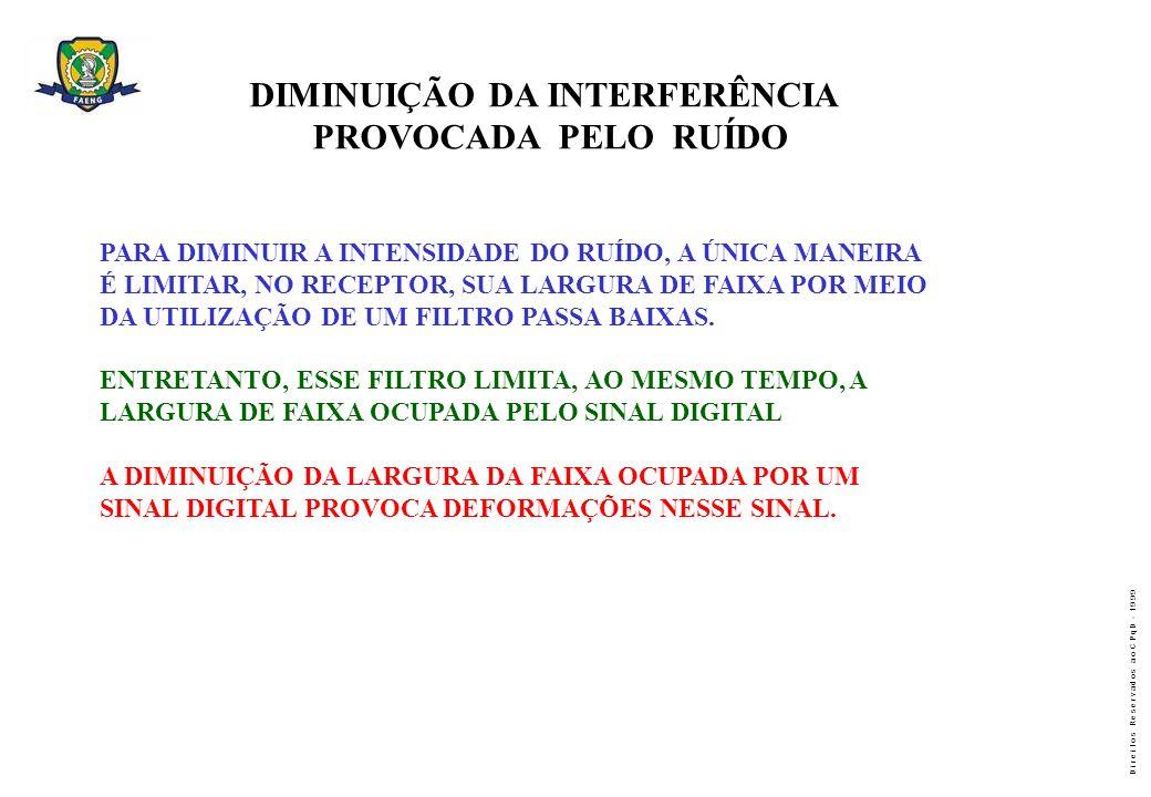 D i r e i t o s R e s e r v a d o s a o C P q D - 1 9 9 9 DIMINUIÇÃO DA INTERFERÊNCIA PROVOCADA PELO RUÍDO PARA DIMINUIR A INTENSIDADE DO RUÍDO, A ÚNI