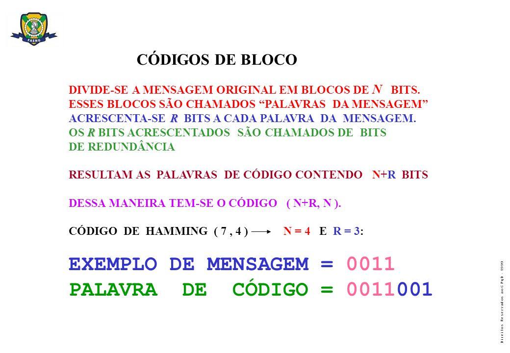 D i r e i t o s R e s e r v a d o s a o C P q D - 1 9 9 9 CÓDIGOS DE BLOCO DIVIDE-SE A MENSAGEM ORIGINAL EM BLOCOS DE N BITS. ESSES BLOCOS SÃO CHAMADO