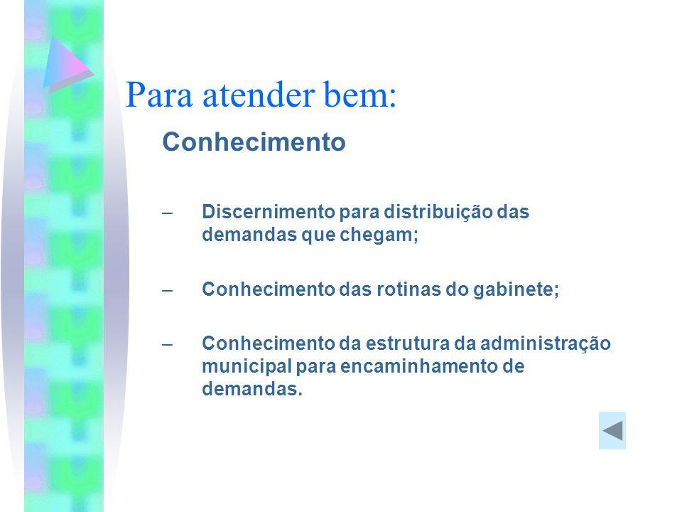 Para atender bem: Conhecimento –Discernimento para distribuição das demandas que chegam; –Conhecimento das rotinas do gabinete; –Conhecimento da estrutura da administração municipal para encaminhamento de demandas.