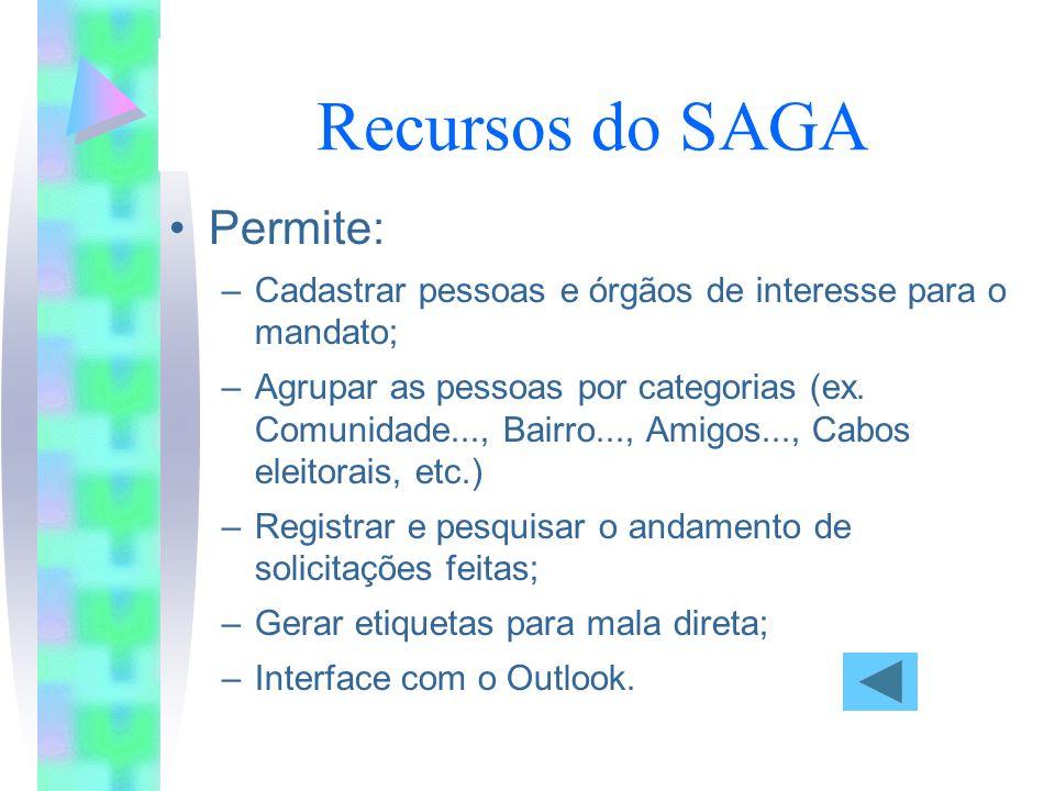 Para atender bem: Recursos do SAGA Permite: –Cadastrar pessoas e órgãos de interesse para o mandato; –Agrupar as pessoas por categorias (ex.