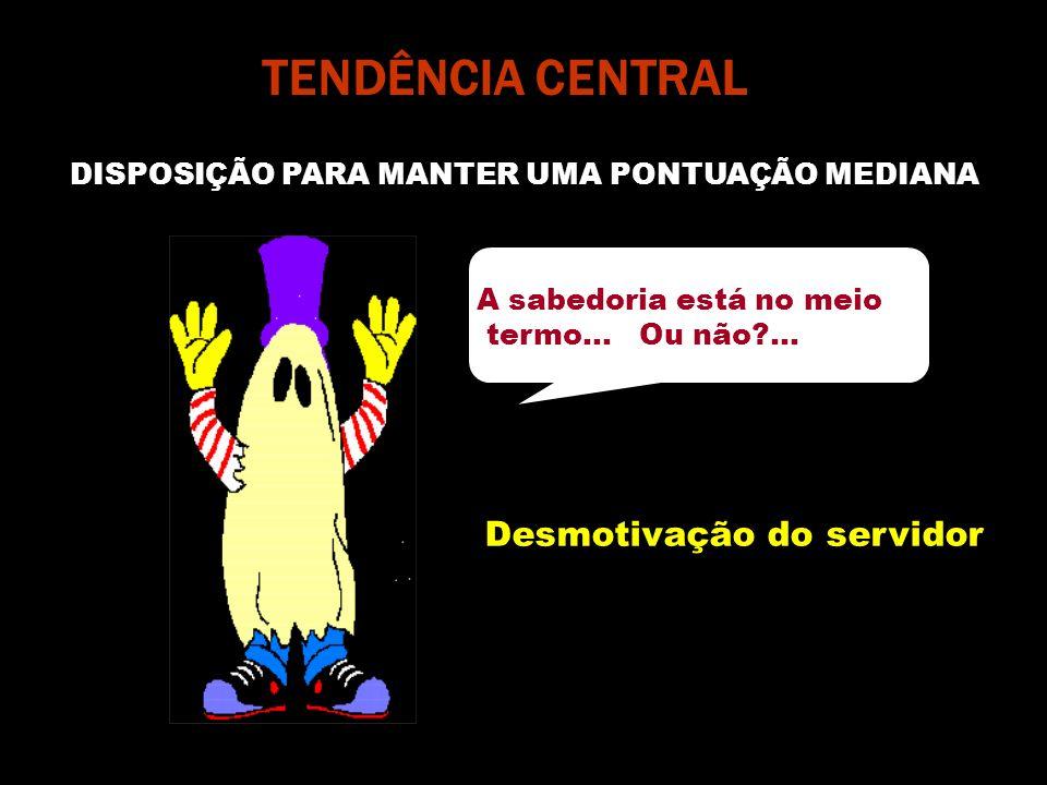 TENDÊNCIA CENTRAL DISPOSIÇÃO PARA MANTER UMA PONTUAÇÃO MEDIANA A sabedoria está no meio termo... Ou não?... Desmotivação do servidor
