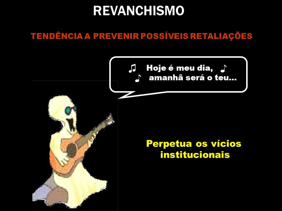 REVANCHISMO TENDÊNCIA A PREVENIR POSSÍVEIS RETALIAÇÕES Hoje é meu dia, amanhã será o teu... Perpetua os vícios institucionais