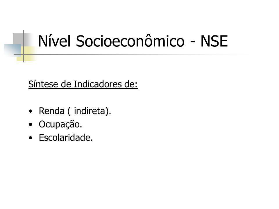 Nível Socioeconômico - NSE Síntese de Indicadores de: Renda ( indireta). Ocupação. Escolaridade.