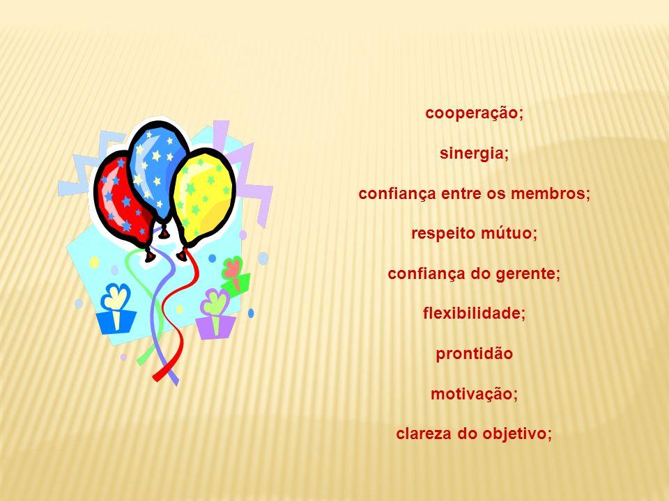 cooperação; sinergia; confiança entre os membros; respeito mútuo; confiança do gerente; flexibilidade; prontidão motivação; clareza do objetivo;