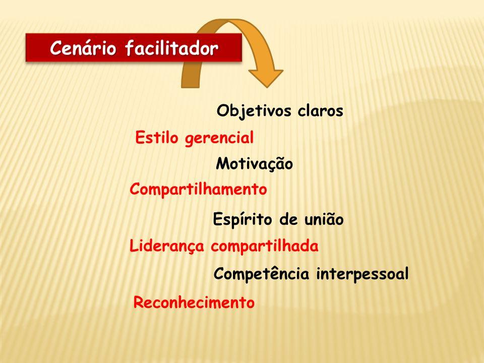 Objetivos claros Estilo gerencial Motivação Competência interpessoal Espírito de união Compartilhamento Liderança compartilhada Reconhecimento